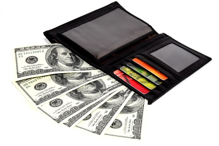 600 dollars and credit cards in purse on a ehite background Stock Photo - 9999672