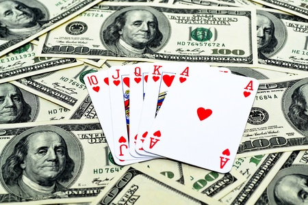 Winning poker combination over the dollar surface