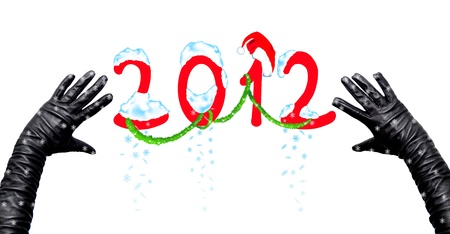 felicitation: New 2012 Year inscription on a white background