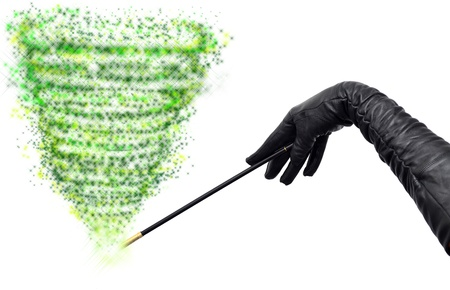 Magician hands in long black gloves holding magic wand and casting spell Stock Photo - 11596841