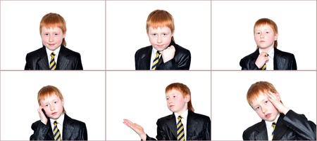 Boy businessman showing different emotions isolated on white photo