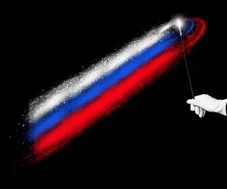 held: Russian flag held by a hand in white glove