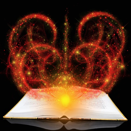 esotericism: Magic book with red splashes on a black background