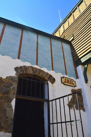jailhouse: Opened black passage into a country jailhouse Stock Photo