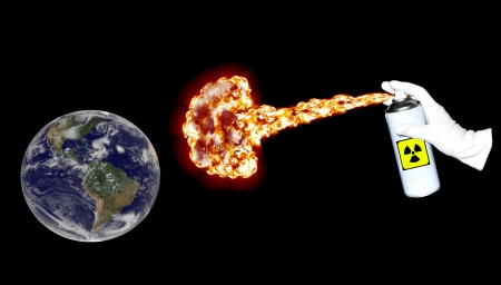 Spray with deadly gas spreading over the surface of the Earth photo