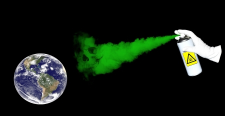 annihilate: Spray with deadly green poison spreading over the surface of the Earth