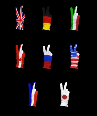 foreign policy: National flags of G8 members on a black background Stock Photo