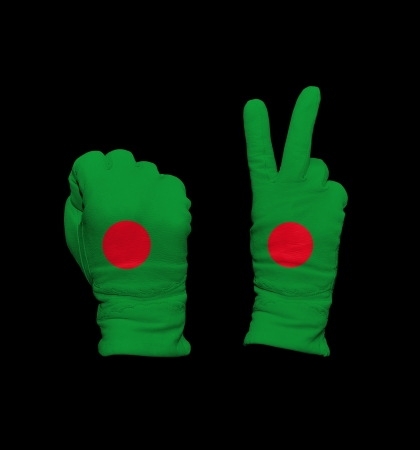 Clenched fist in leather glove, and hand with victory gesture in a glove decorated with Bangladesh flag photo