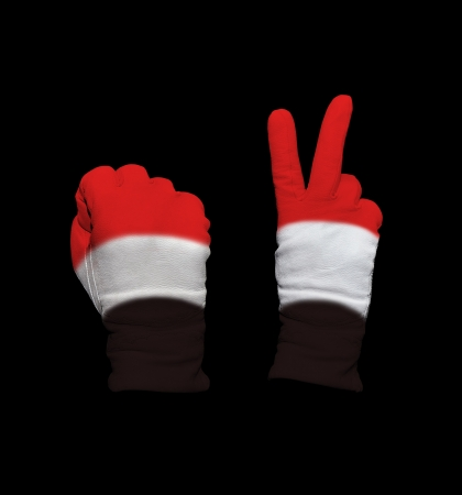 Clenched fist in leather glove, and hand with victory gesture in a glove decorated with Yemen flag photo