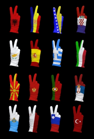 foreign policy: National flags of Southern Europe countries on a black background