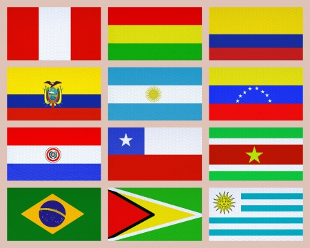 Twelve south american flags collage photo