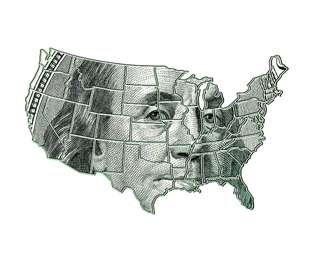 USA map on a dollar background with Franklin image photo
