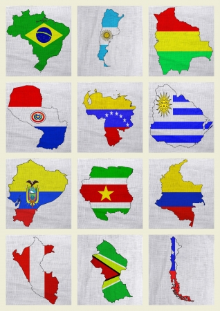 Flags of South American countries on a sackcloth background photo