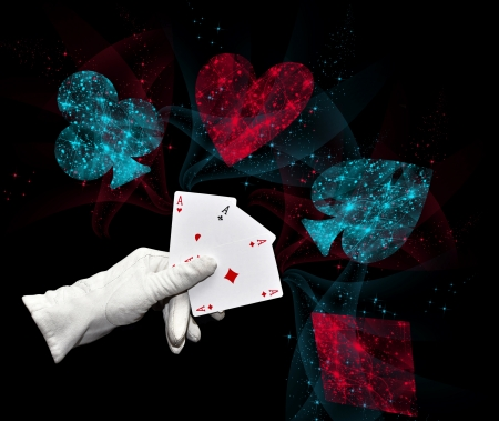 game show: Hand in white glove holding three aces
