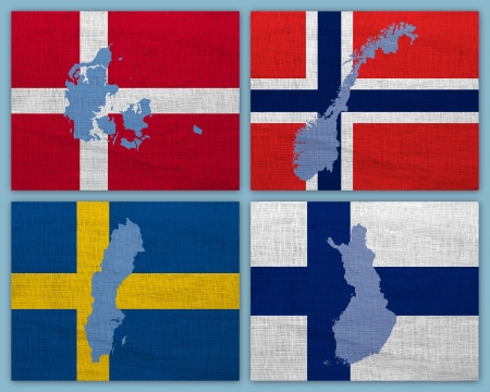 nordic country: Flags and maps of Scandinavian countries on a sackcloth