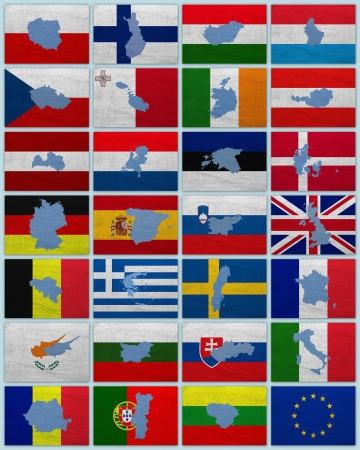 Flags and maps of European Union countries on a sackcloth photo