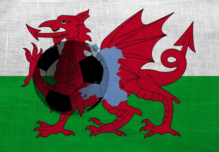 Football ball on the national flag of Wales photo