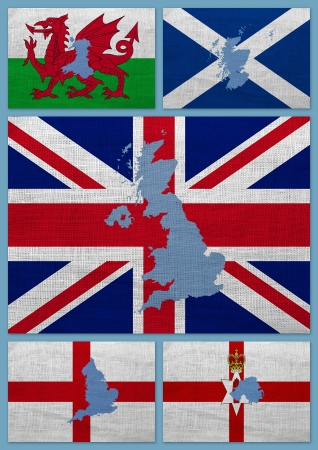 Flags and maps of United Kingdom countries on a sackcloth photo