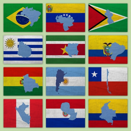 Flags and maps of South America countries on a sackcloth Stock Photo - 14920418