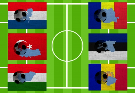 Football. Europe. Qualifying group D. Six countries (Netherlands, Turkey, Hungary, Romania, Estonia, Andorra) photo
