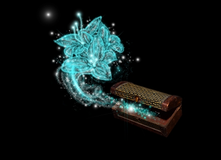 wizardry: Opened antique chest with a blue flower blown from inside Stock Photo