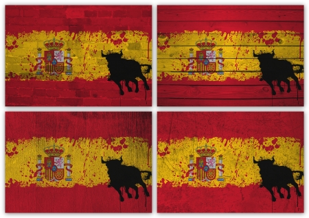Collage of spanish flag with different texture backgrounds photo
