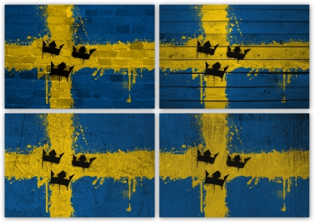Collage of Swedish flag with different texture backgrounds photo