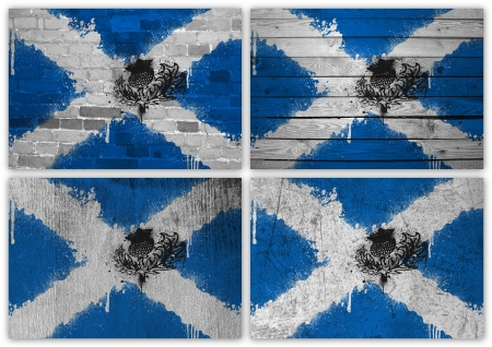 Collage of Scottish flag with different texture backgrounds photo