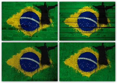 Collage of Brazilian flag with different texture backgrounds photo