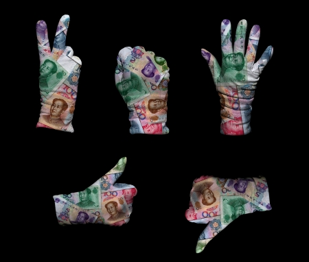 Hands in white gloves wrapped with chinese money background photo