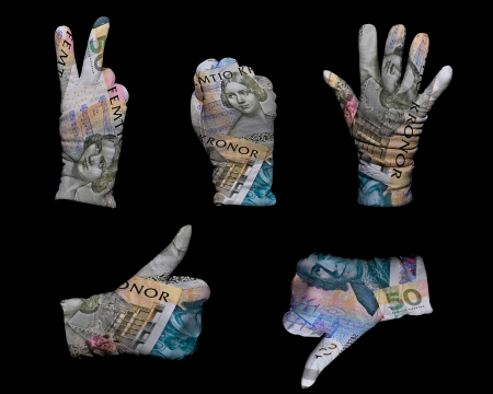 Hands in white gloves wrapped with swedish krona background photo