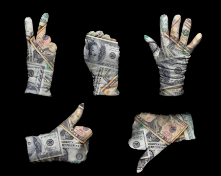 Hands in white gloves wrapped with american dollar background Stock Photo - 15011544
