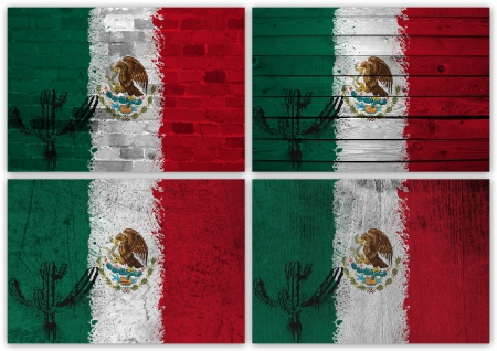 Collage of Mexican flag with different texture backgrounds photo