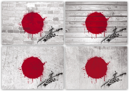 Collage of Japanese flag with different texture backgrounds photo