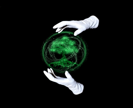 Tree within emerald sphere and hands in white gloves making passes above it