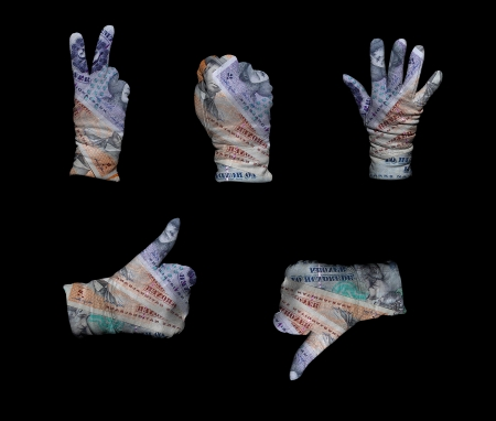disapprove: Hands in white gloves wrapped with denmark krone background