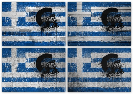 cliche: Collage of Greek flag with different texture backgrounds