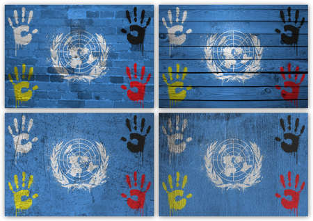 peacefull: Collage of United Nations flag with different texture backgrounds