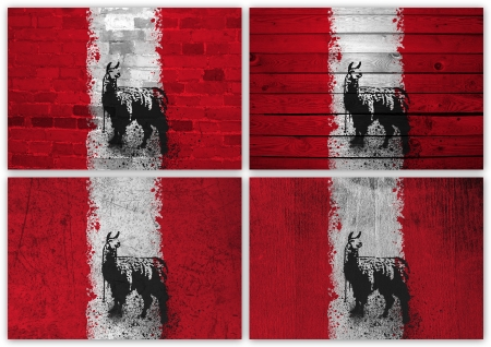 Collage of Peruvian flag with different texture backgrounds photo