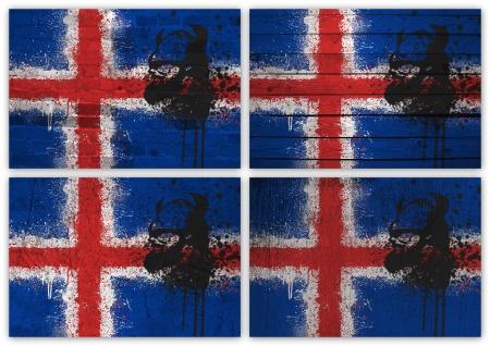 icelandic flag: Collage de la bandera de Islandia con or�genes diferentes texturas Foto de archivo