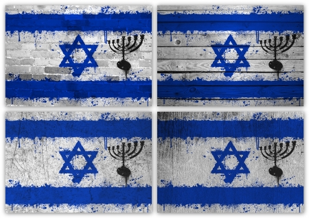 Collage of Israeli flag with different texture backgrounds photo