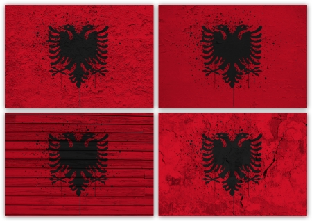 Collage of Albanian flag with different texture backgrounds photo