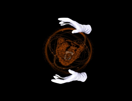Beast within orange sphere and hands in white gloves making passes above it photo