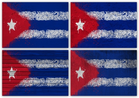 the cuban: Collage of Cuban flag with different texture backgrounds