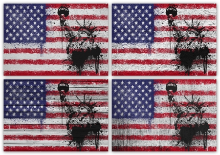 Collage of American flag with different texture backgrounds photo