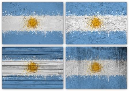 rive: Collage of Argentinean flag with different texture backgrounds