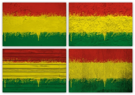bolivian: Collage of Bolivian flag with different texture backgrounds Stock Photo