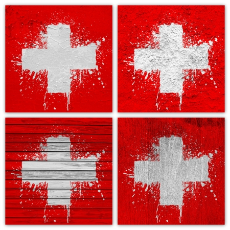 rive: Collage of Swiss flag with different texture backgrounds Stock Photo