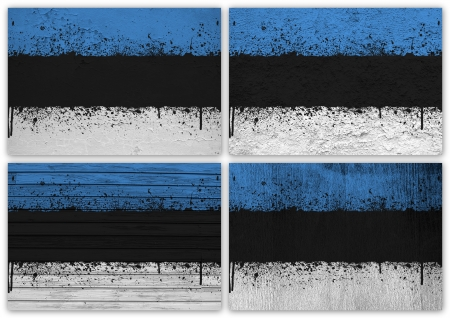 estonian: Collage of Estonian flag with different texture backgrounds