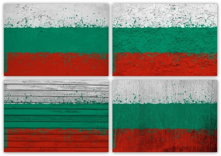 Collage of Bulgarian flag with different texture backgrounds photo